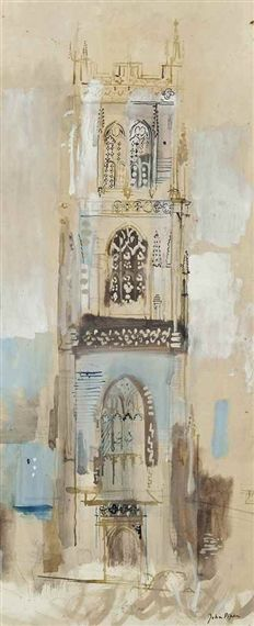 ✽   john piper - 'huish episcopi (somerset)  -   1950s  -   ink, watercolour and gouache