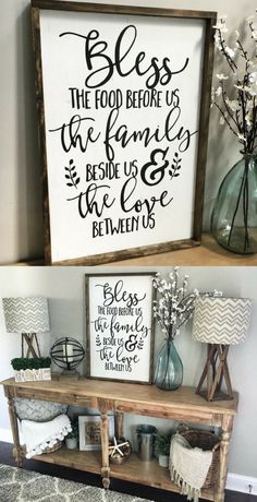 Bless the Food Before Us Wood Sign, Rustic Wood Sign, Framed Sign, Kitchen Sign, Dining Room Sign, Farmhouse Decor, Kitchen Decor #farmhousestyle #rusticdecor #farmhousedecor #ad