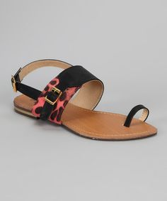 Take a look at this Black & Red Spot Sandal by Shoes of Soul on #zulily today!