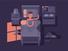 Man sleep in bed. Dream night, bedroom interior, vector illustration Vector files, fully editable.
