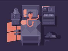 Man sleep in bed. Dream night, bedroom interior, vector illustration Vector files, fully editable.