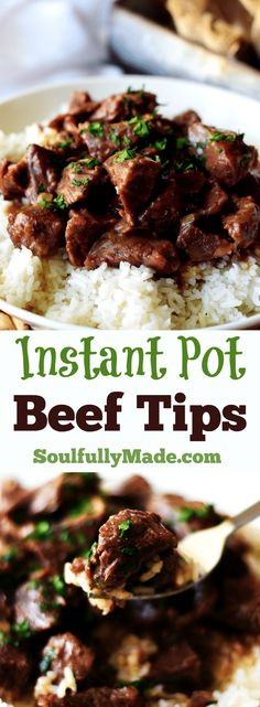 Pot Beef Tips by Soulfully Made - Instant Pot Beef Tips are pressure coo. -Instant Pot Beef Tips by Soulfully Made - Instant Pot Beef Tips are pressure coo. Beef Tip Recipes, Beef Recipes For Dinner, Instant Pot Dinner Recipes, Slow Cooker Recipes, Cubed Beef Recipes, Chicken Recipes, Crockpot Recipes, Recipes With Beef Chunks, Recipes With Beef Tips