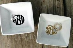 Use Silhouette to monogram bowls from the Dollar Tree. Then use to hold jewelry. Example: Rings by the sink