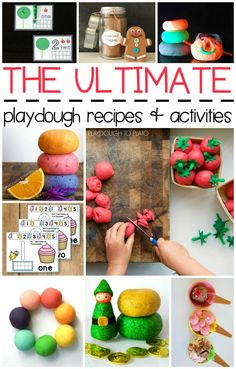 The Ultimate Playdough Recipes and Activities. Squishy, soft homemade playdough recipes, free playdough mats, playdough activities and more. A great way to build fine motor skills!