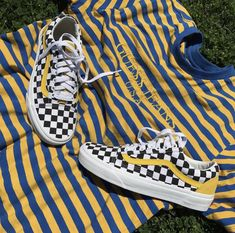 Yellow checkered vans, vans outfit ideas. Pinterest: skywalkereleven.