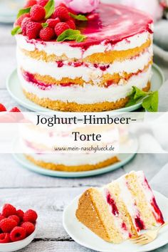 Joghurt-Himbeer-Torte Fruity recipe for a yogurt cake with raspberries # raspberry cake # yoghurt cake Tart Recipes, Easy Cake Recipes, Cookie Recipes, Dessert Recipes, Asian Recipes, Meal Recipes, Delicious Desserts, Vegetarian Recipes, Food Cakes