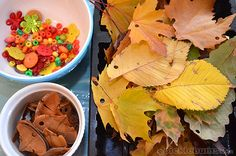 Autumn leaf threading - fall activity for kids. I love anything hands on and I know the kids would love working with nontraditional craft material.