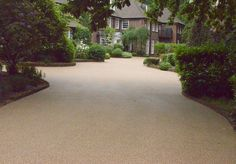 Resin Bound Gravel Driveway in Flaxen Pea colour Wentworth Surrey installed by Clearstone Rock Driveway, Resin Driveway, Driveway Repair, Gravel Driveway, Driveway Landscaping, Driveway Ideas, Resin Gravel, Resin Bound Gravel, Resin Bound Driveways