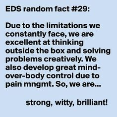 Ehlers Danlos Syndrome #EhlersDanlos #EDS  *grin*