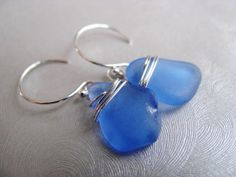 Sea Glass , Beach Glass , Dangle Earrings , Rare Cornflower Blue , Beach Glass Jewelry