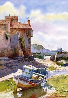 Beautiful Watercolor painting by Spanish artist Faustino Martin Gonzalez. Watercolor Architecture, Watercolor Landscape, Landscape Art, Landscape Paintings, Watercolor Sketch, Watercolor Artists, Watercolor Paintings, Watercolor Trees, Watercolor Portraits
