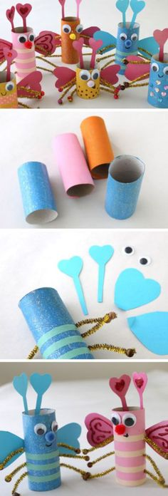 Toilet roll love bugs diy valentines crafts for kids to make easy valentine Kids Crafts, Preschool Valentine Crafts, Kinder Valentines, Diy And Crafts Sewing, Crafts For Kids To Make, Valentines Day Party, Crafts For Teens, Diy Craft Projects, Art For Kids