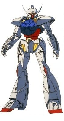 """The SYSTEM ∀-99 ∀ Gundam (called """"Turn A Gundam"""", aka """"∀"""", """"White Doll"""", """"White Devil"""", """"Mustache"""") is the titular mobile suit of ∀ Gundam. It is piloted primarily by Rolan Cehack."""