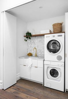 Small Laundry, Laundry In Bathroom, Laundry Nook, Marble Hearth, Leadlight Windows, Cast Iron Fireplace, Laundry Room Inspiration, Edwardian House, Laundry Room Design
