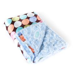 Blue on Pastel Dot with Chocolate Background - Large Baby Blanket - Our AllyZabba blankets are made of a special raised plush fabric and a polyester satin backing that feels like silk against your skin! Babies love the soft and silky feel! Parents even say that their babies and children sleep better next to something that feels so silky and cuddly! Made in the USA! http://www.weddingsarefun.com/blue-on-pastel-dot-with-chocolate-background-large-baby-blanket.html