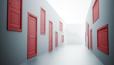 Download Hallway with many doors stock illustration. Image of illustration - 9644371