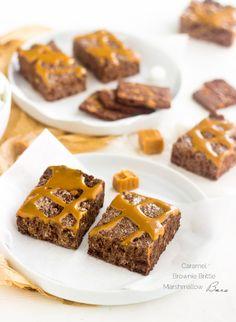 Caramel Brownie Brittle Marshmallow Treats - A fun twist on a classic that is SUPER easy and yummy!   Foodfaithfitness.com  @FoodFaithFit