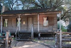 The Old Place......A rustic cabin built of rough-sawn cedar planks in about 1823 by John R. Williams who was a Texas colonist and part of the Old Three Hundred. Originally built along the banks of Clear Creek, it is the oldest-known structure in Harris County, Texas, and is a part of Sam Houston Park.