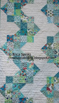 Ups and Downs Quilt by Sarah Fielke, book's Hand quilted with love  - great color