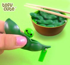 Endless #Edamame Popping Soybean Pod #phone charm at Tofu Cute .. I need a new one, I broke mine