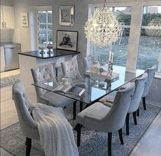 53 Elegant Dining Room Design For Dream Home - Pin Store Dining Room Table Decor, Elegant Dining Room, Luxury Dining Room, Dining Room Design, Living Room Decor, Dinning Room Ideas, Glass Dinning Table, Dining Room Sets, Grey Dining Room Furniture