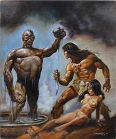 Val Mayerik Savage Sword of Conan Cover Painting Comic Art Dark Fantasy Art, Fantasy Kunst, Fantasy Artwork, Boris Vallejo, Conan Der Barbar, Science Fiction Kunst, Dragons, Comic Kunst, Conan The Barbarian