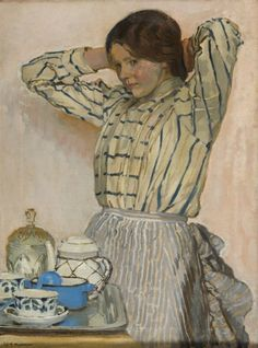 """""""Woman with Coffee"""" by Józef Mehoffer (Polish,1869 - 1946); oil on canvas, 69,5 x 52 cm.DESA"""