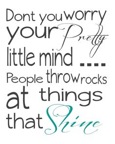 People throw rocks at things that shine - Taylor Swift