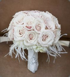 Bridal Bouquet Inspiration: Flowers with feathers {Old Hollywood Feel}