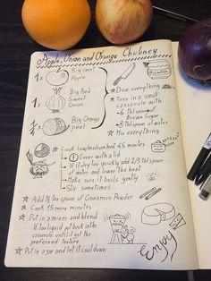 Apple, Onion and Orange Chutney Sketchnote recipe | by xLontrax