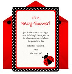 Digital ladybug invitation from Punchbowl