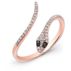 14kt rose gold diamond slytherin ring with black diamond eyes ($599) ❤ liked on Polyvore featuring jewelry, rings, diamond jewellery, red gold jewelry, snake ring, pink gold rings and rose gold diamond ring