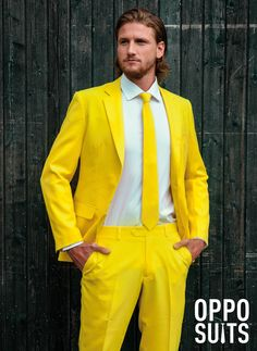 The Yellow Fellow Suit. Be the hit at your next event with this amazing Yellow Suit! Made of 100% polyester. Sizing is the same as if you were ordering a suit for work. Comes complete with Suit Jacket