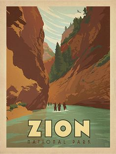 Zion National Park: Hiking The Narrows - Decorate your walls with a sense of classic American adventure. This print celebrates our heritage of wilderness and wonder with a view of the Narrows in Zion National Park.