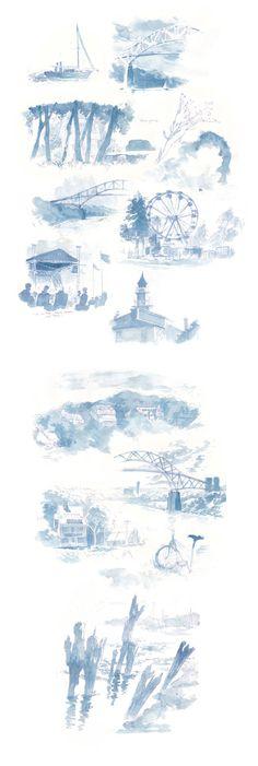 Ballpoint pen and prussian blue watercolor.  dA  Canal Studies by nicholaskole