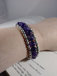 Anxiety & Stress Relieving Bracelet, Amethyst Bracelet, Healing Bracelet, Gemstone Bracelet, Purple Bracelet, Silver Bracelet, Wire Bracelet by PurpleMoonJewelryCA on Etsy