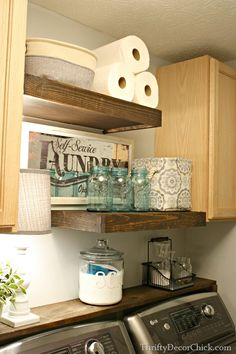 DIY Wood Shelving (Laundry Storage) How to build floating shelves in the laundry room Laundry Room Remodel, Laundry Closet, Laundry Room Organization, Laundry Room Design, Laundry Rooms, Laundry In Kitchen, Small Laundry Area, Laundry Organizer, Laundry Room Cabinets