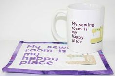 In the hoop machine embroidered Mug Rug with matching mug, what a great gift for a stitcher or quilter!