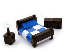 LEGO Furniture: Bedroom Set w/ Dresser, Nightstand and Lamp (Blue) Lego Furniture, Black Furniture, Minecraft Furniture, Furniture Ideas, Bedroom Furniture, Blue And White Comforter, White Bedding, Lego Bedroom, Blue Bedroom