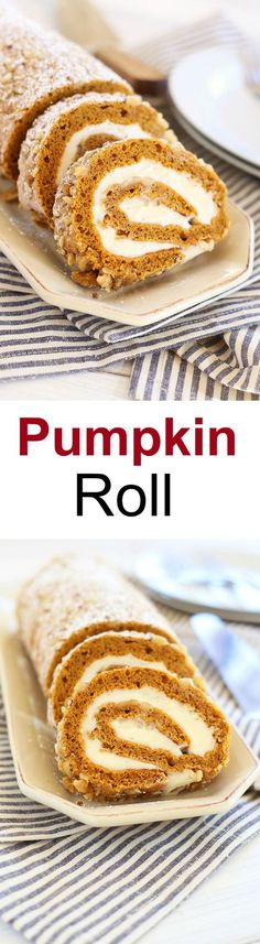 Pumpkin Roll – topped with walnuts with sweet cream cheese filling. This is the best and easiest pumpkin roll recipe ever, so decadent!   rasamalaysia.com