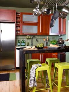 DIY Island with hanging pot rack Space-Saving Ideas for Making More Room in the Kitchen : Home Improvement : DIY Network