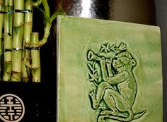 Items similar to Handmade Chinese Monkey ceramic tile, with a apple jade glaze, on Etsy Ceramic House Numbers, Fire Surround, Year Of The Monkey, Glazed Tiles, Earthenware Clay, Ceramic Houses, Little Monkeys, Hand Carved, Jade