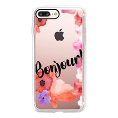BONJOUR! & FLOWERS by Monika Strigel - iPhone 7 Case, iPhone 7 Plus... ($40) ❤ liked on Polyvore featuring accessories, tech accessories, iphone case, slim iphone case, apple iphone case, iphone cases, iphone cover case and flower iphone case