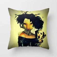 Cruella cat Throw Pillow by Annabellerockz - $20.00