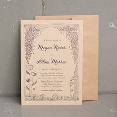 Our Moon Dancer rustic wedding invitation celebrates with a lovely illustrated frame reminiscent in a sweet folk style. Elements are carried