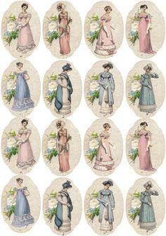 Vintage 16 Jane Austen stickers regency scrapbooking crafts glossy paper #handmade