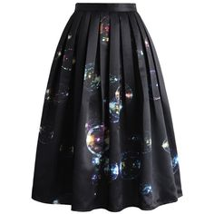 Chicwish Bubbles Shining in Dark Midi Skirt ($49) ❤ liked on Polyvore featuring skirts, black, bubble skirt, wet look skirt, patterned midi skirt, print midi skirt and calf length skirts