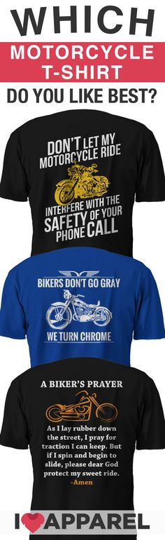 Which shirt do you like best? Come see our full selection of motorcycle shirts and hoodies today. Buy any 2 shirts and get free shipping.