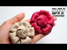 DIY ribbon rose tutorial,How to,fabric flowers,easy Easy Fabric Flowers, Diy Ribbon Flowers, Fabric Flower Tutorial, Fabric Roses, Kanzashi Flowers, Fabric Ribbon, Silk Ribbon, Make Flowers, Satin Ribbon Roses