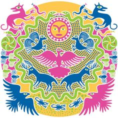 """This illustration is a tapestry interweaving various symbols of Huichol spiritual beliefs.  Rituals, ceremonies and daily life are numerous spiritual beliefs, for example, that the Sun God (Tayau) rules the heavens and brings warmth and illumination to the world, and that his wife, the Mother Goddess (Tatei Werika—the eagle) rules the sky and all living things. Huichols also believe that they descended from """"wolf-people,""""  two serpents surround the world, and that deer serve as spirit… Spiritual Beliefs, Spirituality, Wolf People, Mother Goddess, Spirit Guides, Heavens, Eagles, Deer, Tapestry"""